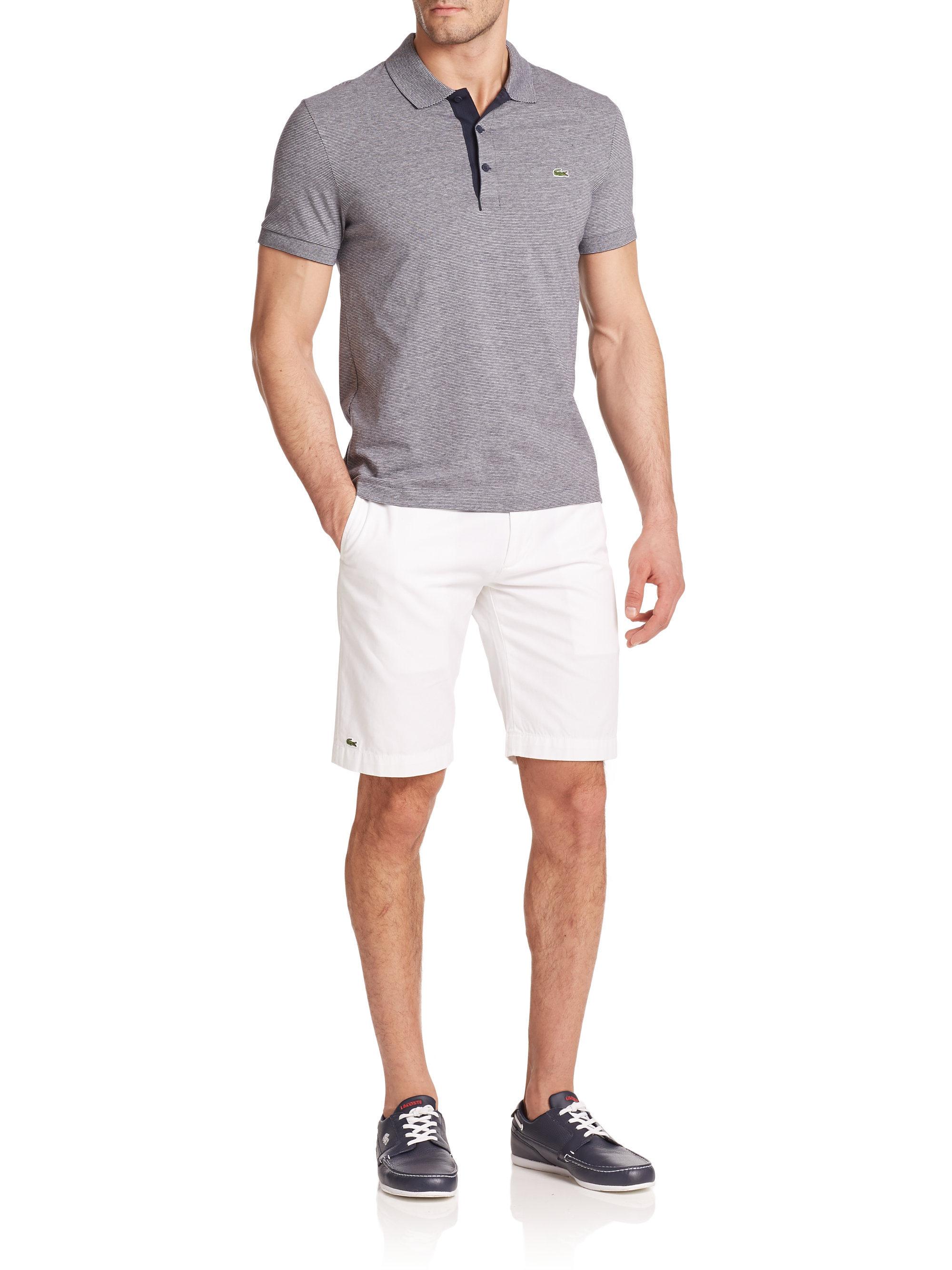 lacoste striped cotton polo shirt in gray for men lyst. Black Bedroom Furniture Sets. Home Design Ideas