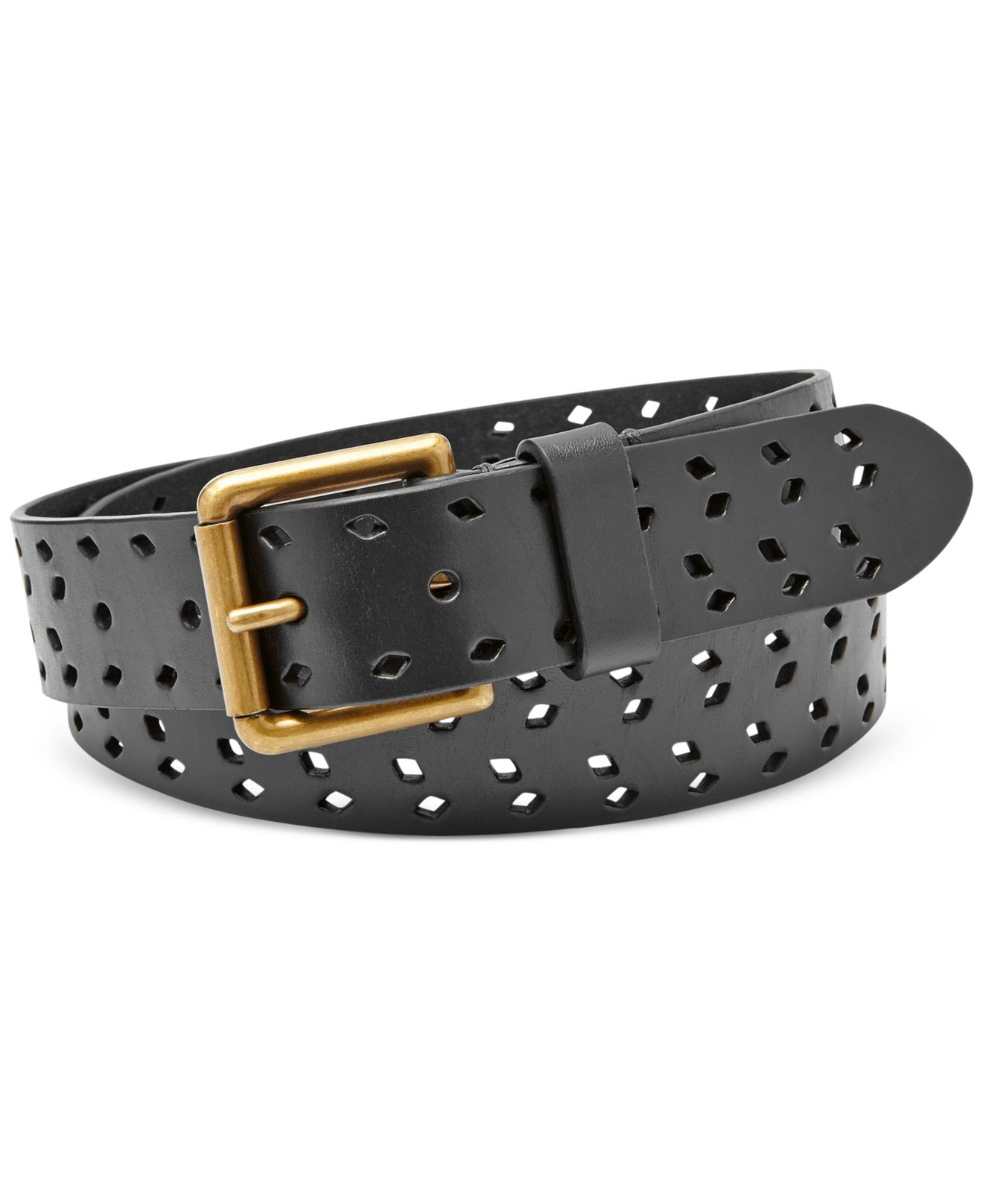 fossil tossed perforated leather belt in black lyst