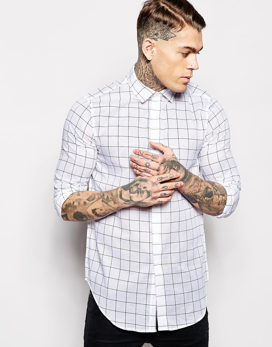 Lyst - Asos Check Shirt In Long Sleeve With Sheer Fabric in White ...