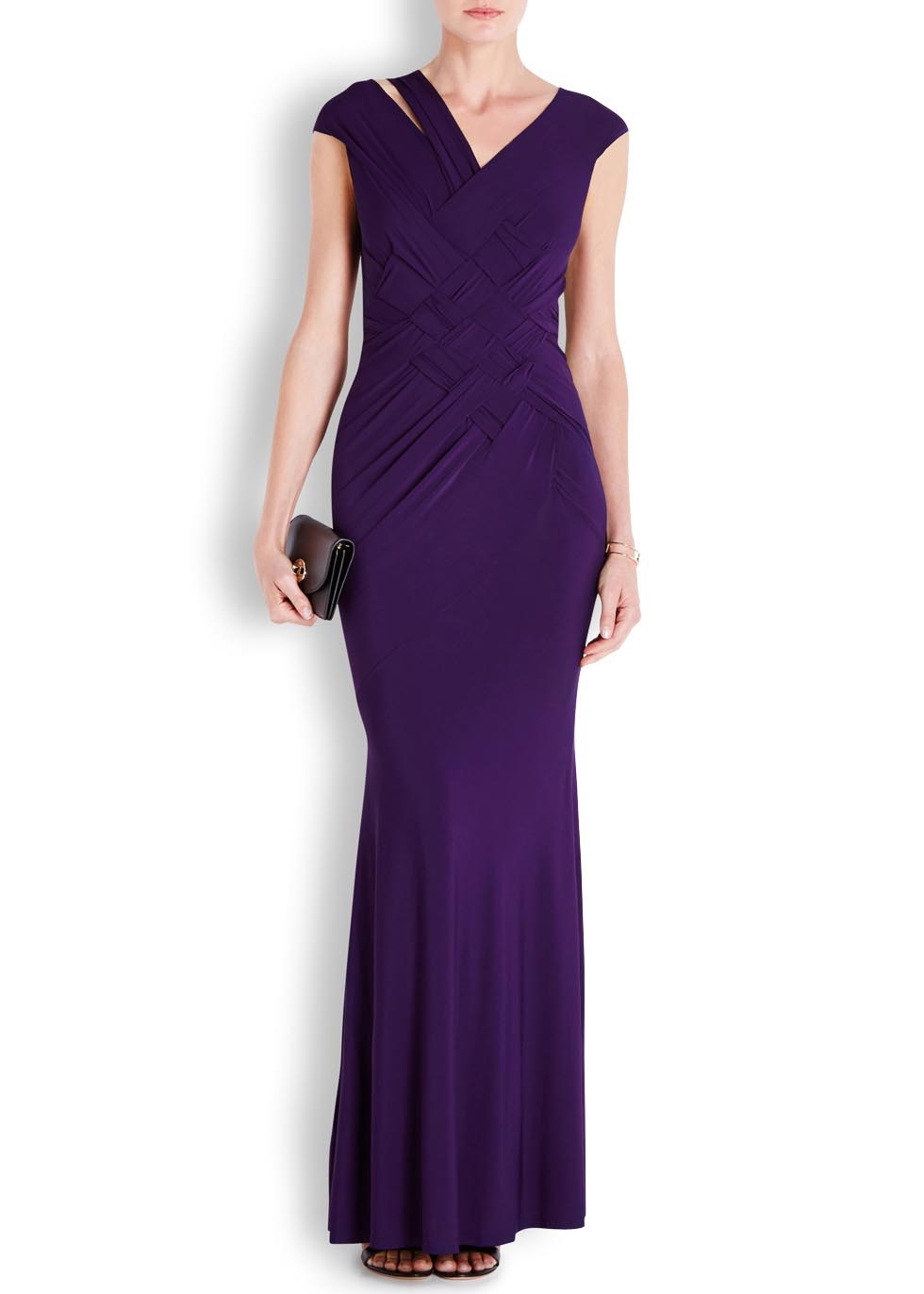 Donna karan new york purple woven detail jersey gown in for Donna karan new york