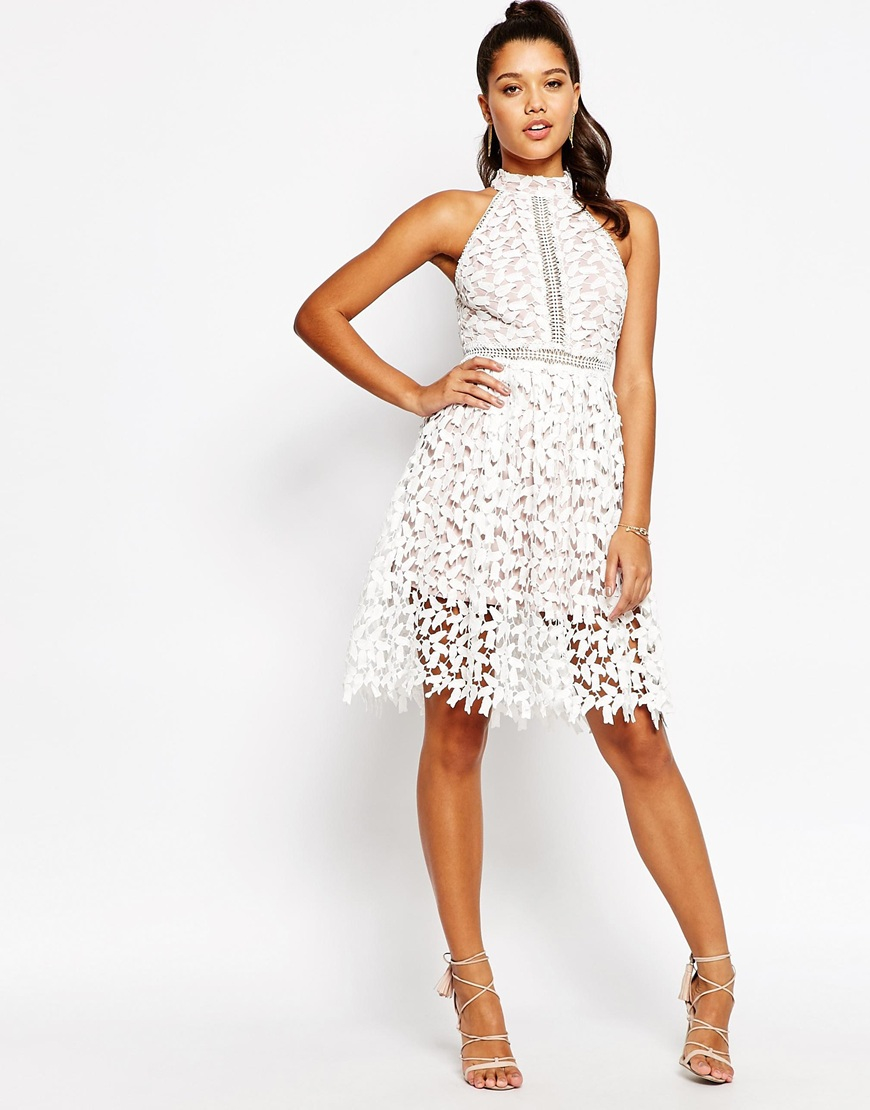97e7a6f0f0 Love Triangle High Neck Midi Dress in White - Lyst