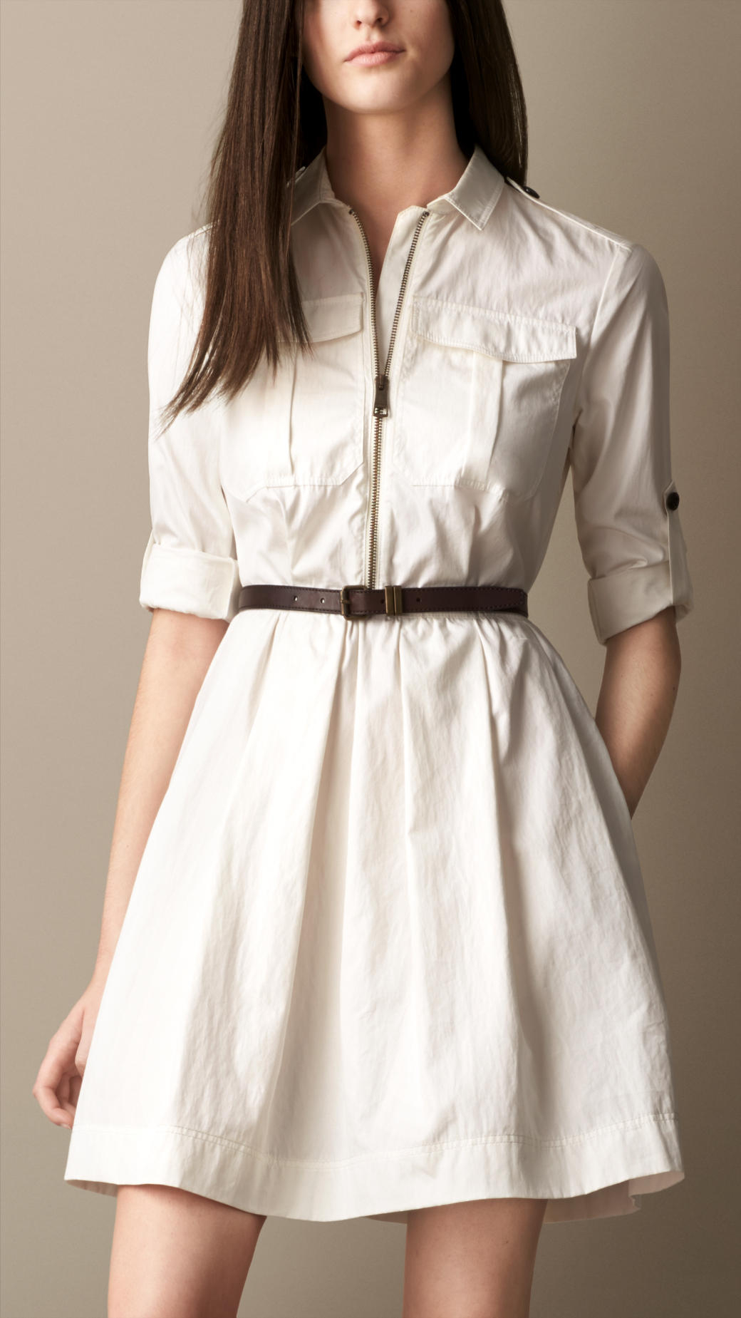 burberry heritage shirt dress with leather belt in white