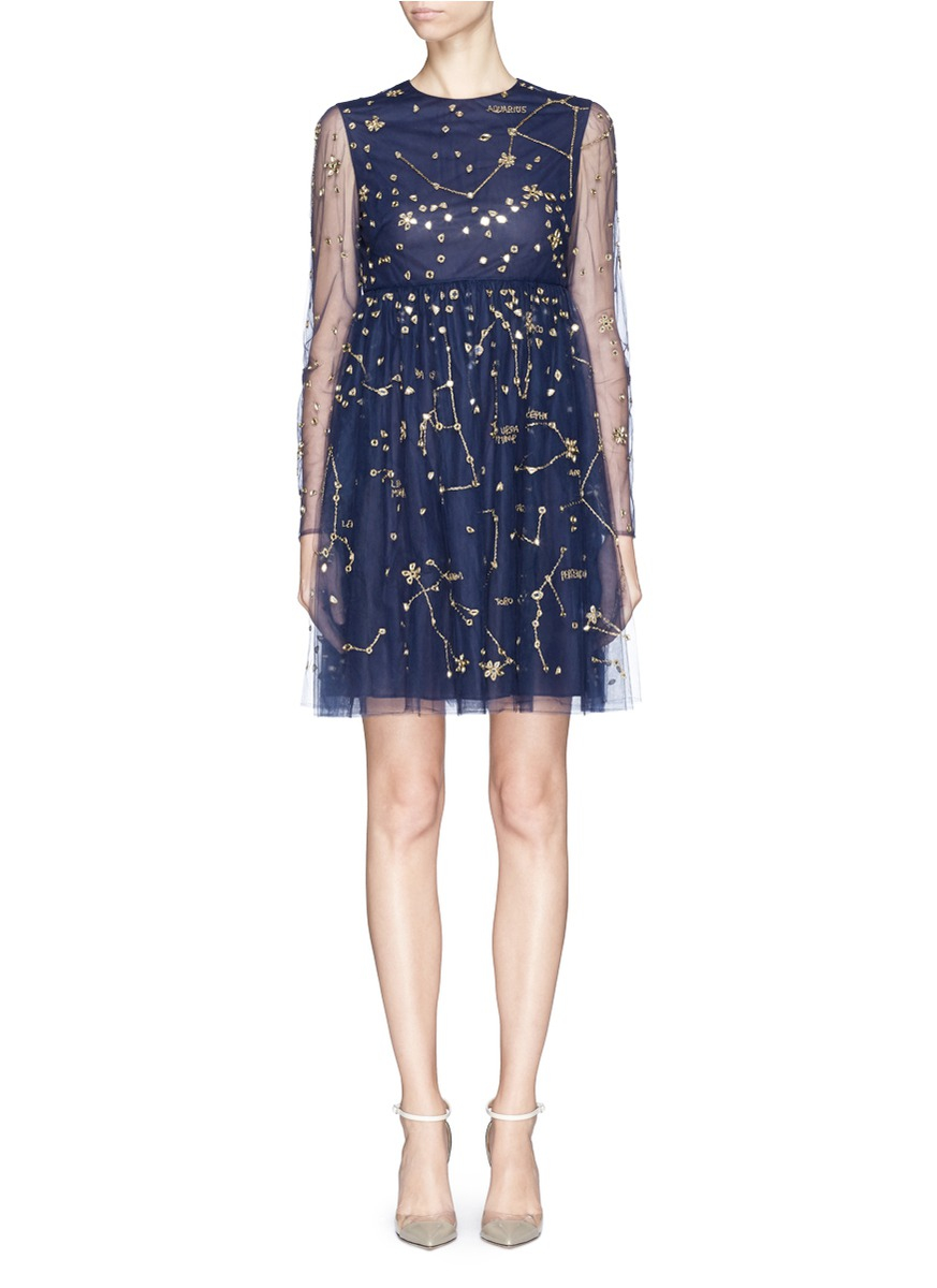 Valentino cosmos mirror embroidery tulle dress in blue lyst