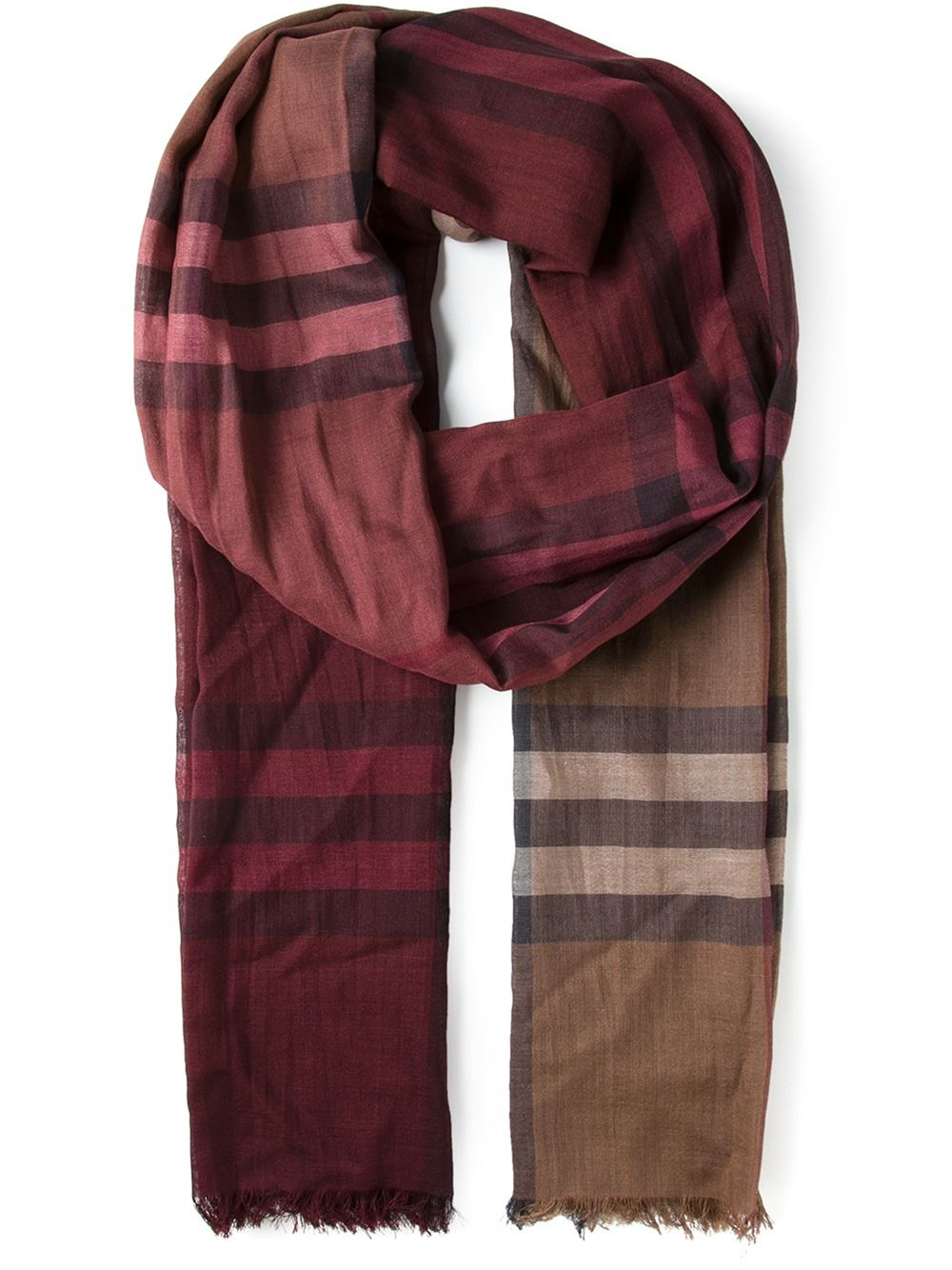 burberry fringed checked scarf in for pink