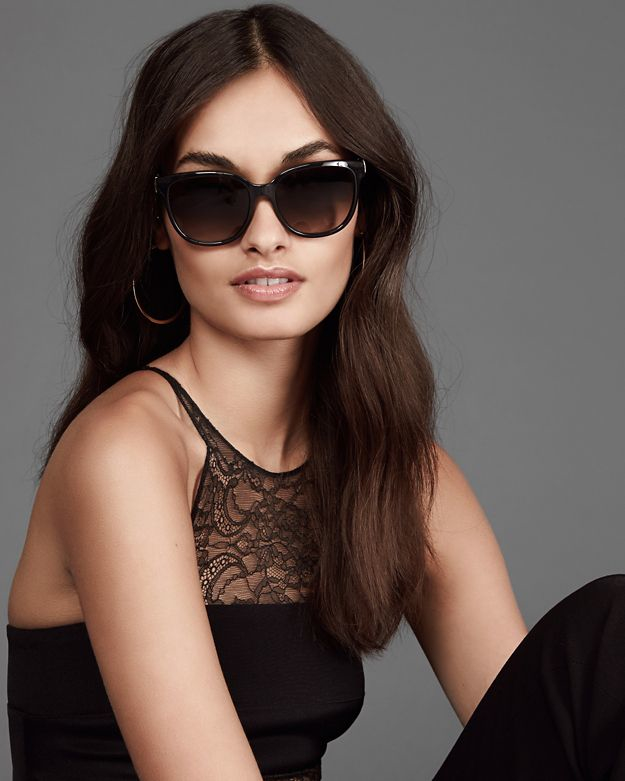 6f2dab96c4 Lyst - Chloé Daisy Oversized Cat Eye Sunglasses  Black in Black