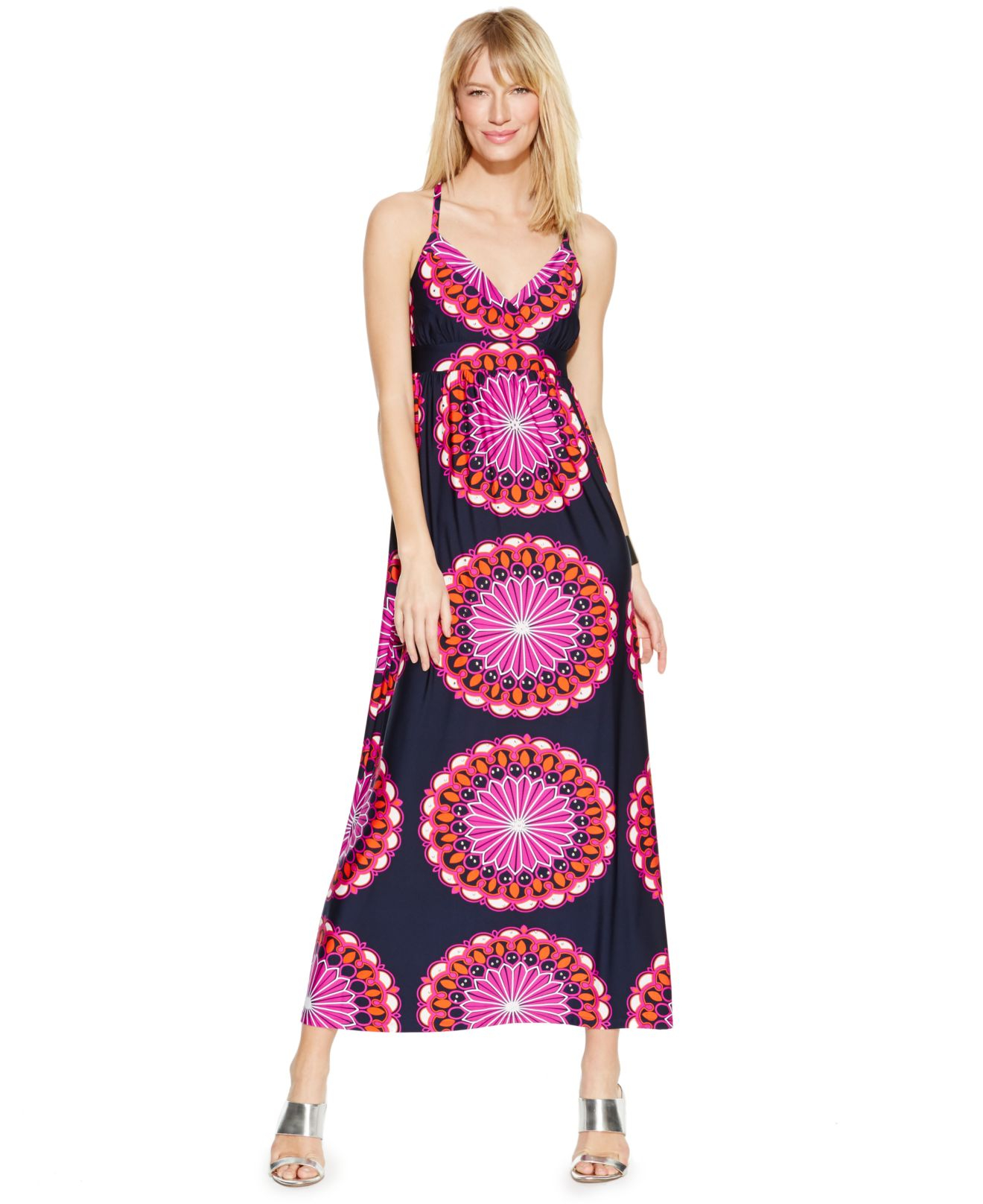 Plus Size Geo-print Racerback Maxi Dress