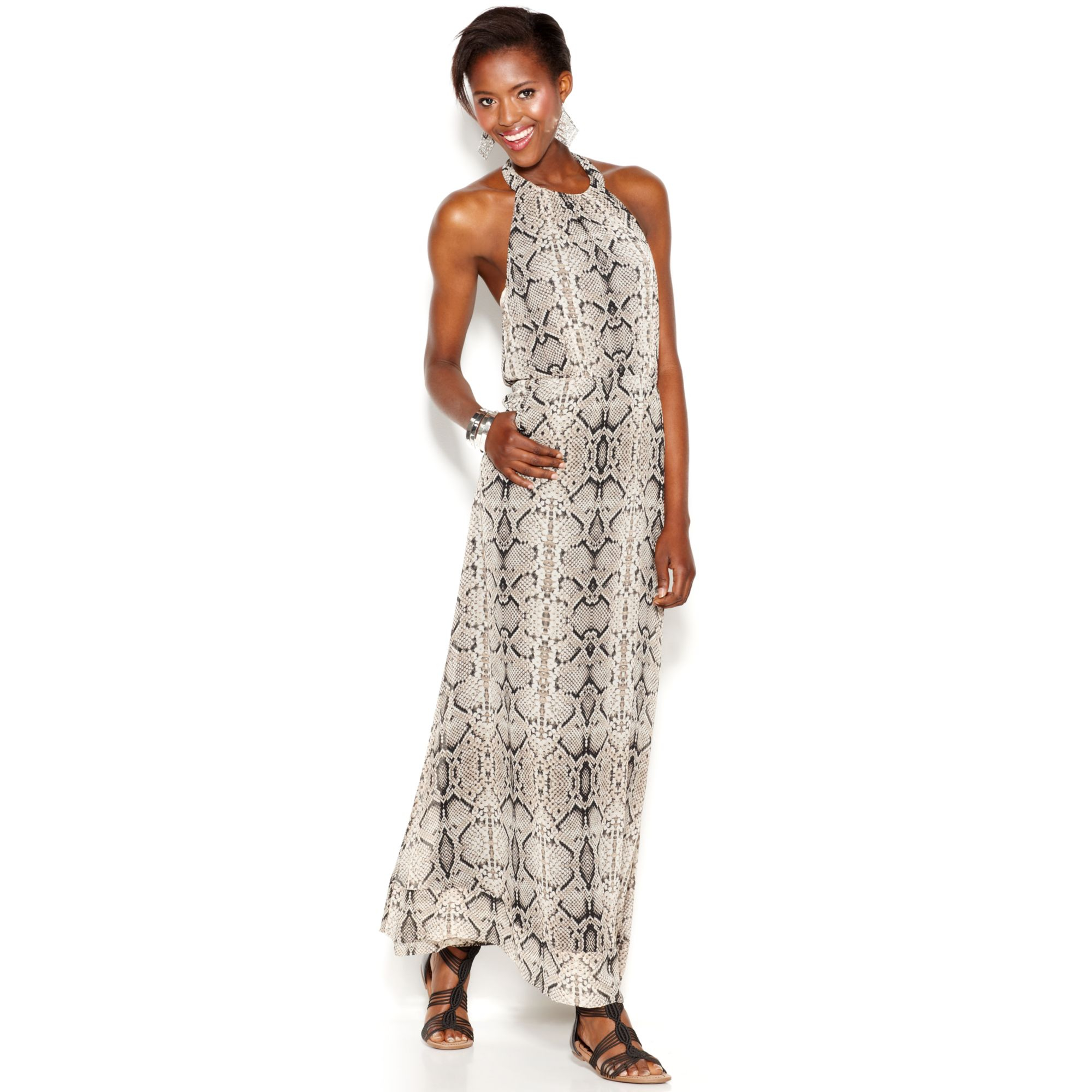 Jessica Simpson Snakeskinprint Halter Maxi Dress Lyst