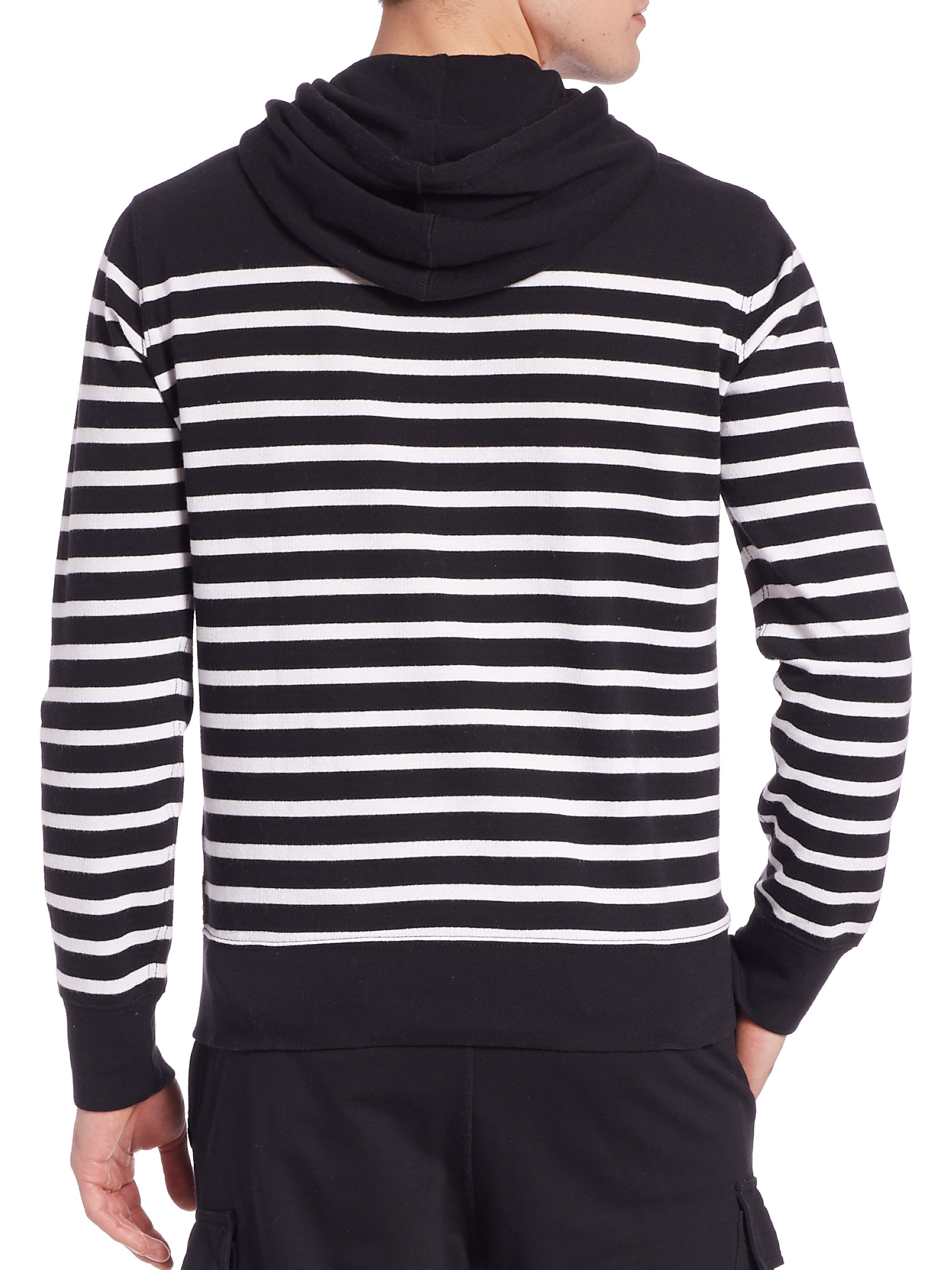 polo ralph lauren striped hooded sweatshirt in black for. Black Bedroom Furniture Sets. Home Design Ideas