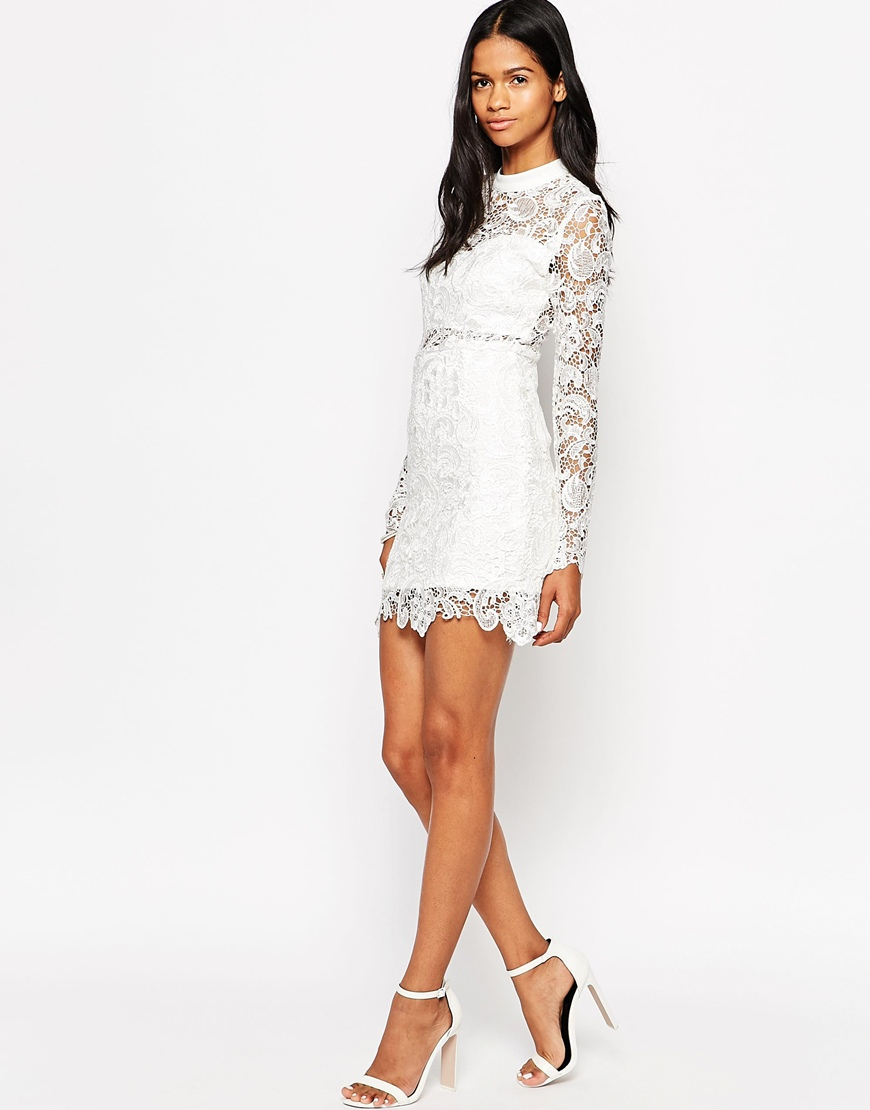 lyst club l high neck lace bodyconscious dress in white