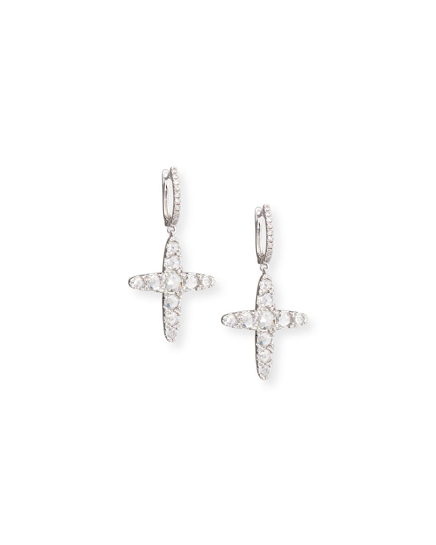 Nigaam 14k White Gold Diamond Cross Dangle Earrings In Metallic Lyst