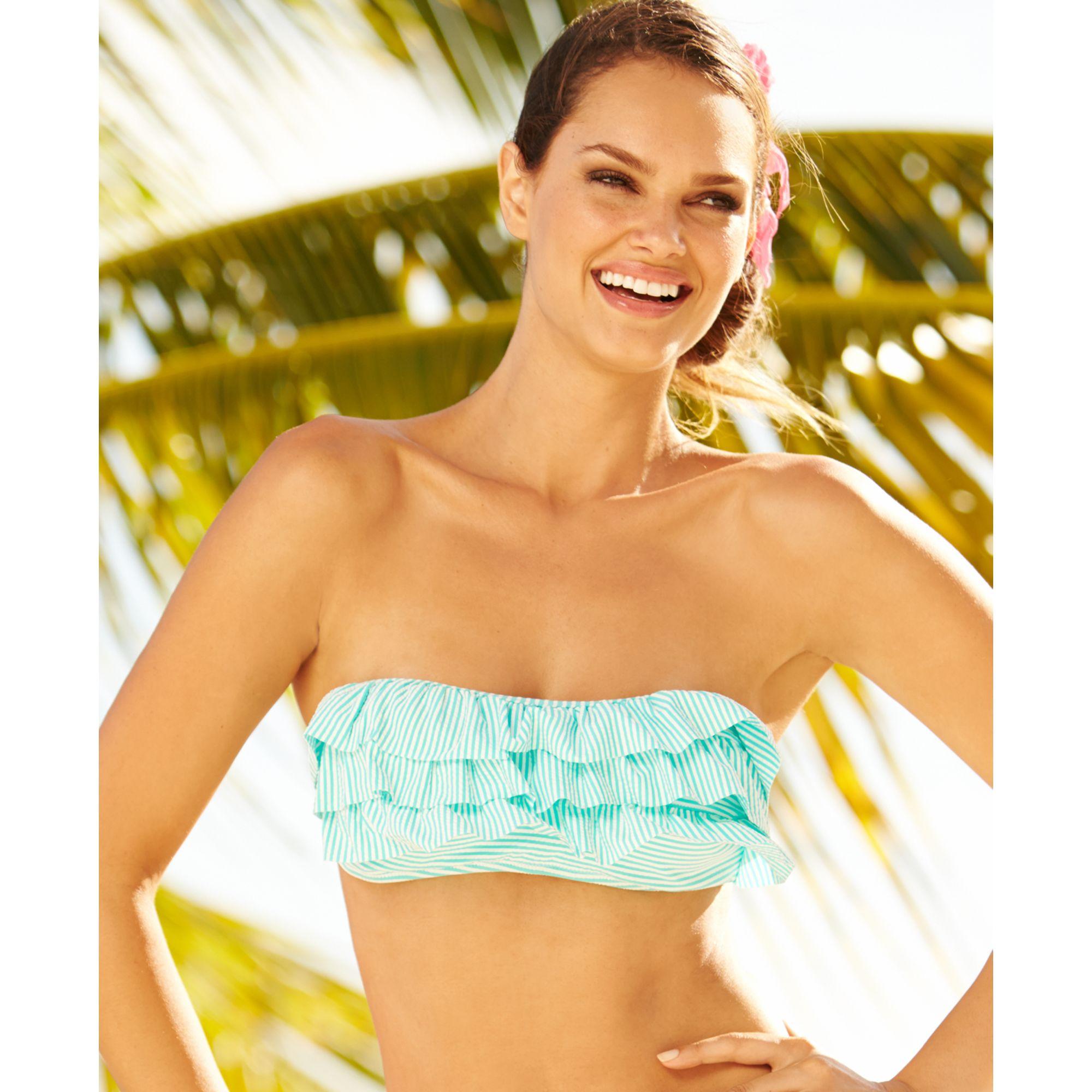 4089af3af93679 Lyst - Jessica Simpson Seersucker Ruffle Bandeau Bikini Top in Blue