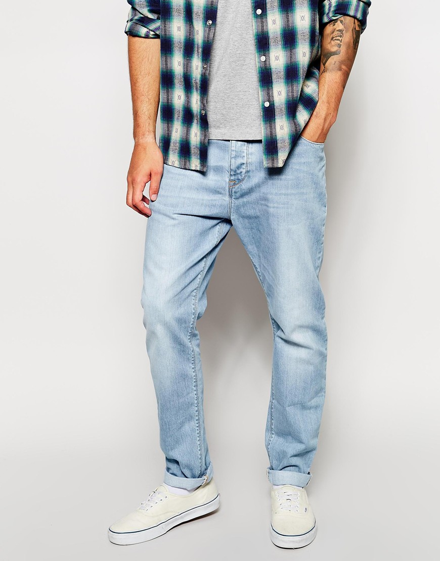 Asos Slim Tapered Jeans In Light Wash in Blue for Men | Lyst