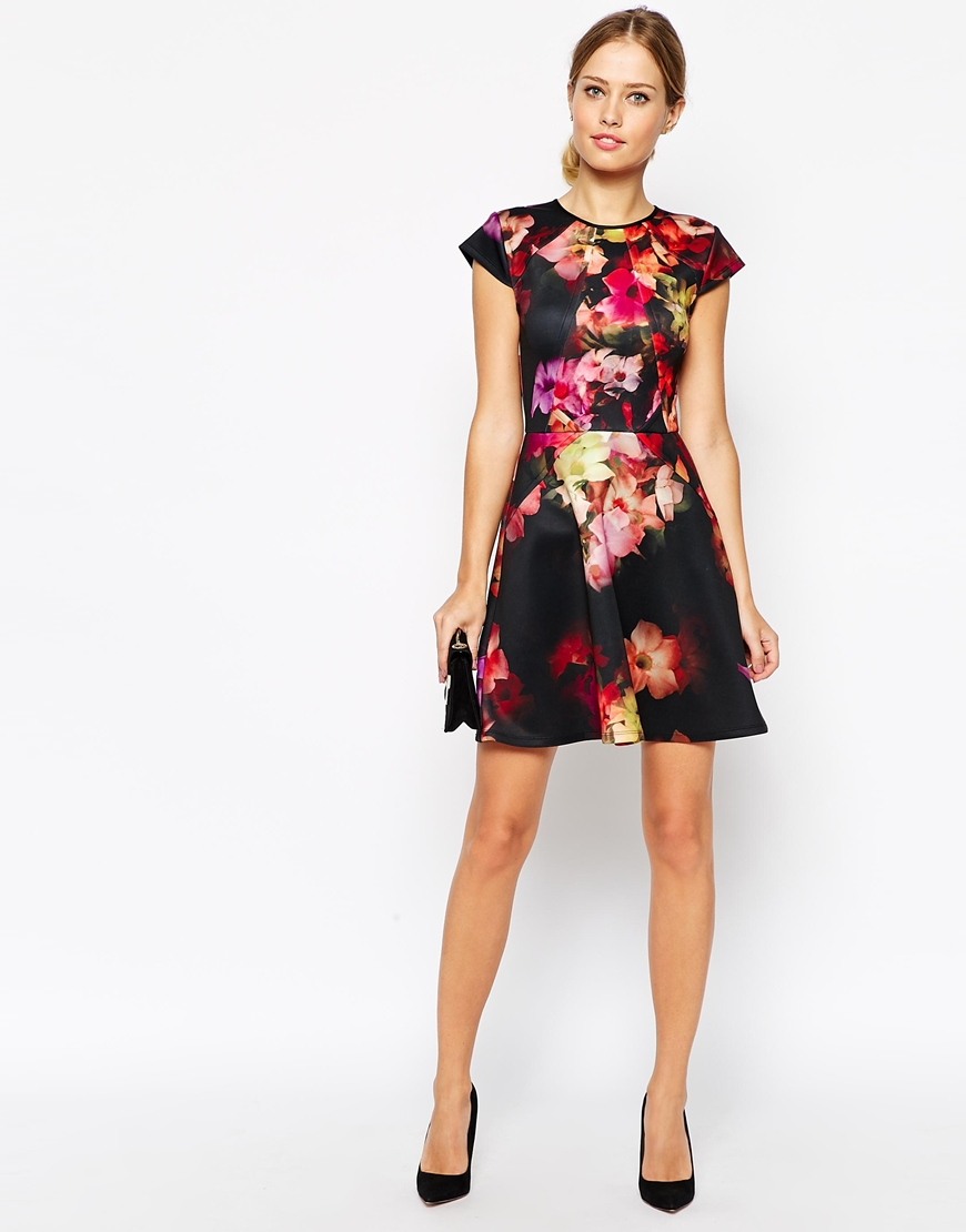 Ted Baker Synthetic Skater Dress In Cascading Floral Print
