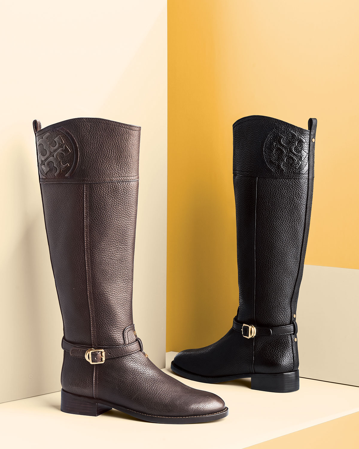 Tory burch Marlene Leather Riding Boot in Brown | Lyst