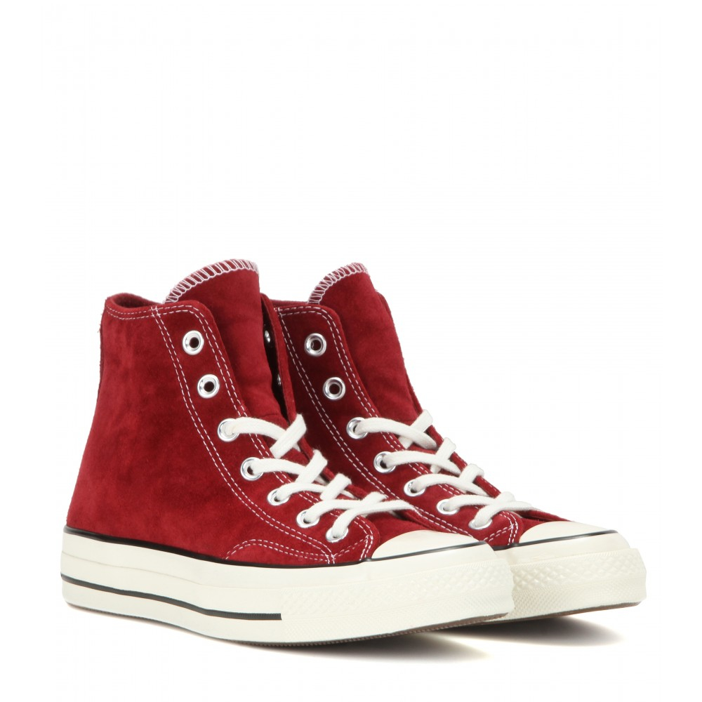 lyst converse chuck taylor suede hightop sneakers in red