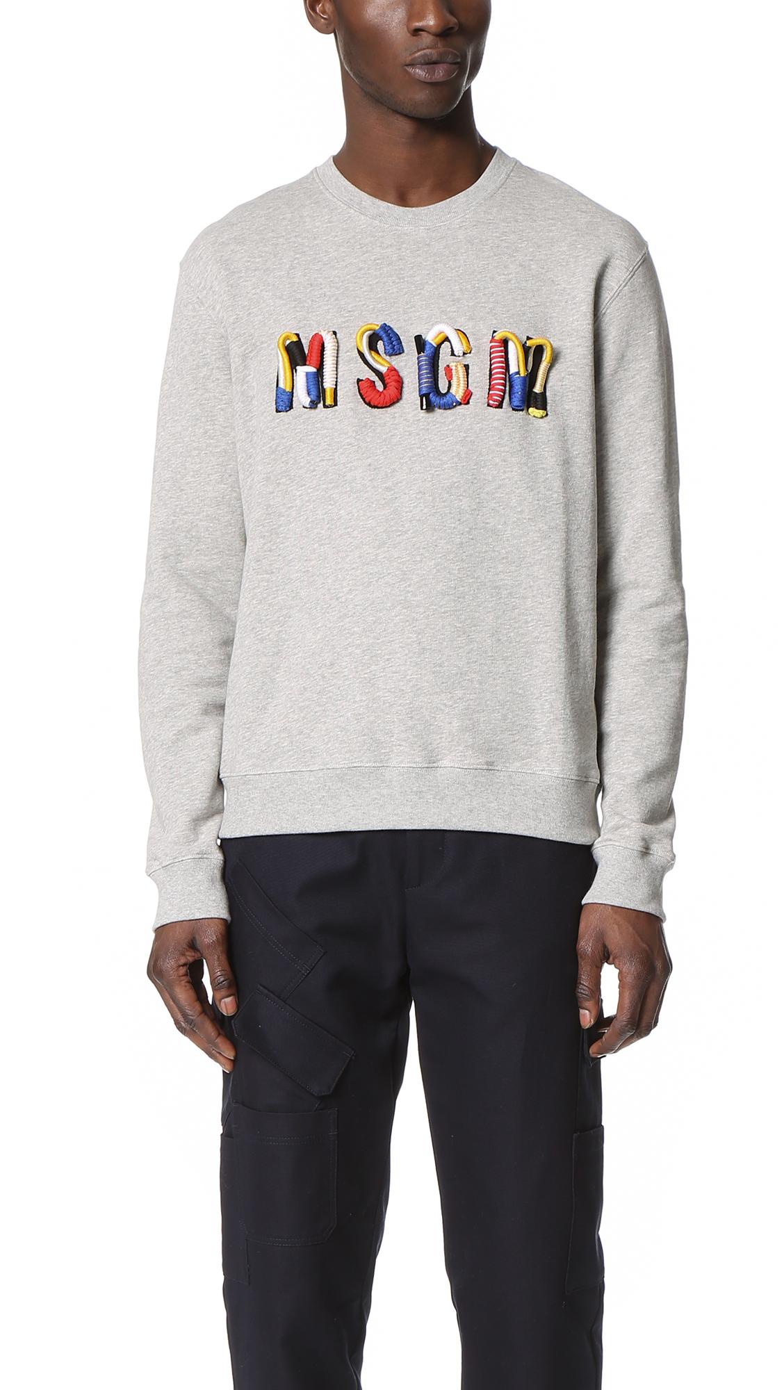 332c6231fd Lyst - MSGM Logo Crew Sweatshirt in Gray for Men