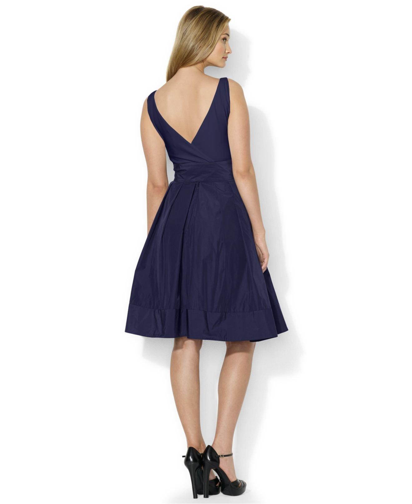 Lyst - Lauren By Ralph Lauren Petite Pleated Cocktail Dress in Blue