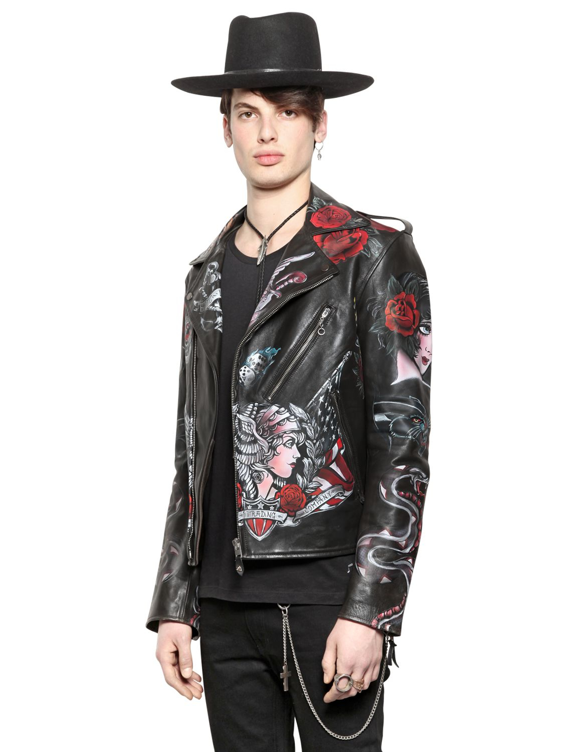Htc Hollywood Trading Company Hand Painted Biker Jacket In