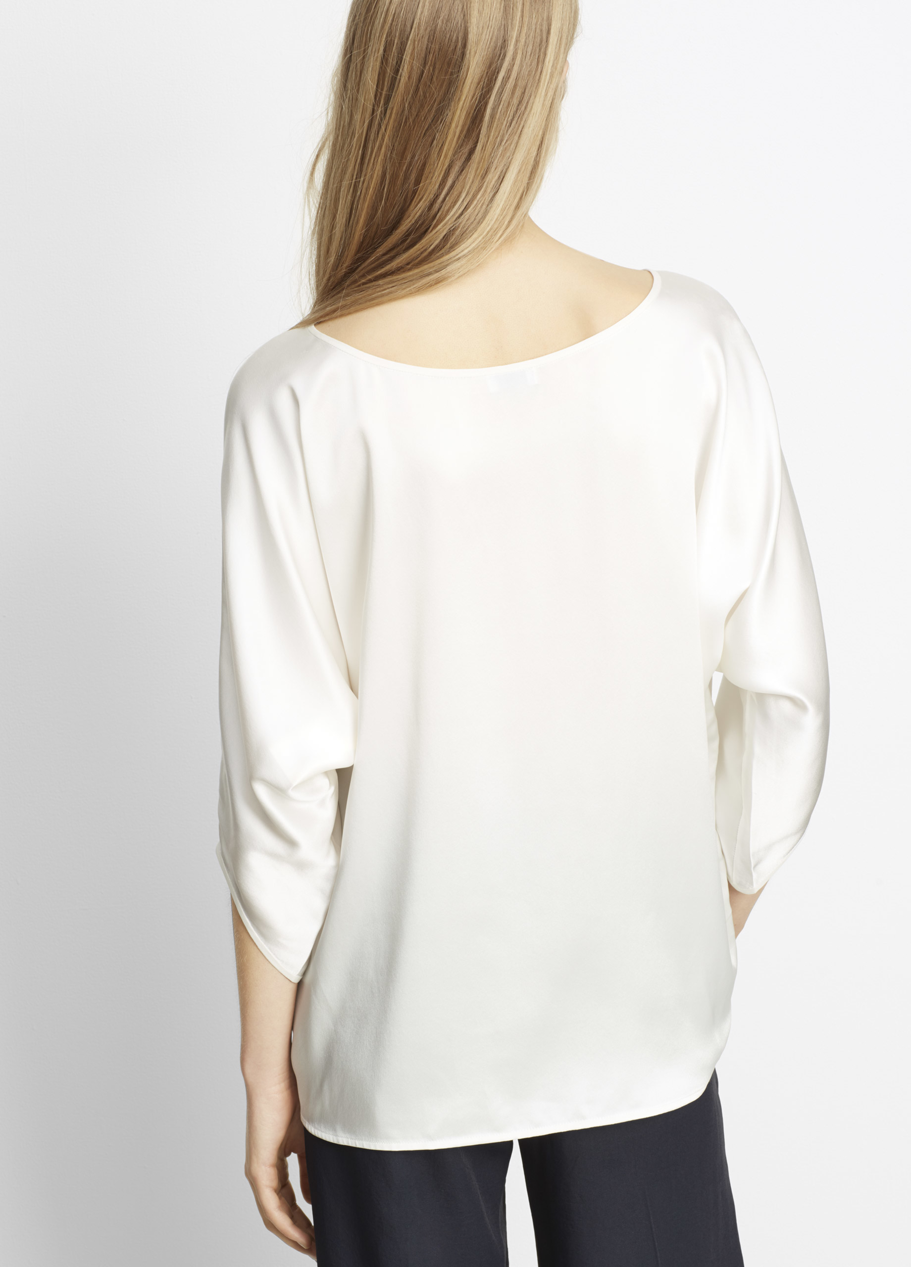 96c64e86be7bf Vince Silk Satin Envelope Sleeve Blouse in White - Lyst