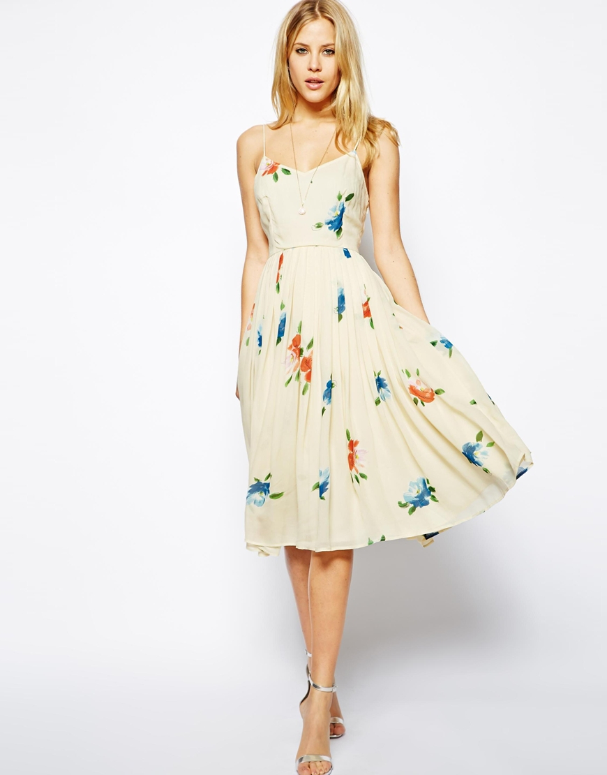 Asos Midi Dress With Pleated Skirt In Floral Print in ...