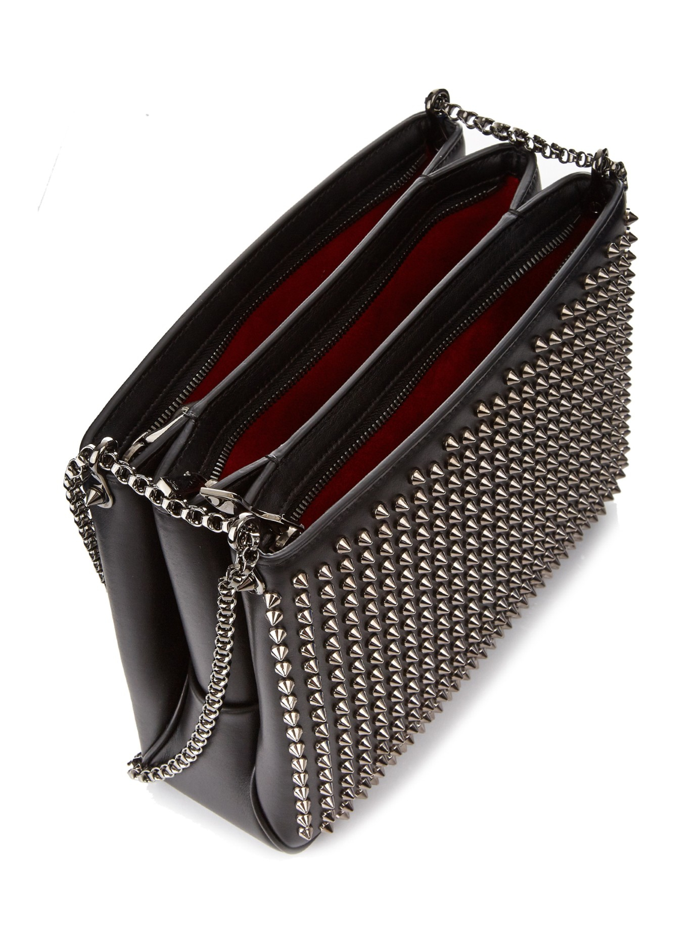 f1006e217d6 Christian Louboutin Black Triloubi Large Spiked Leather Shoulder Bag