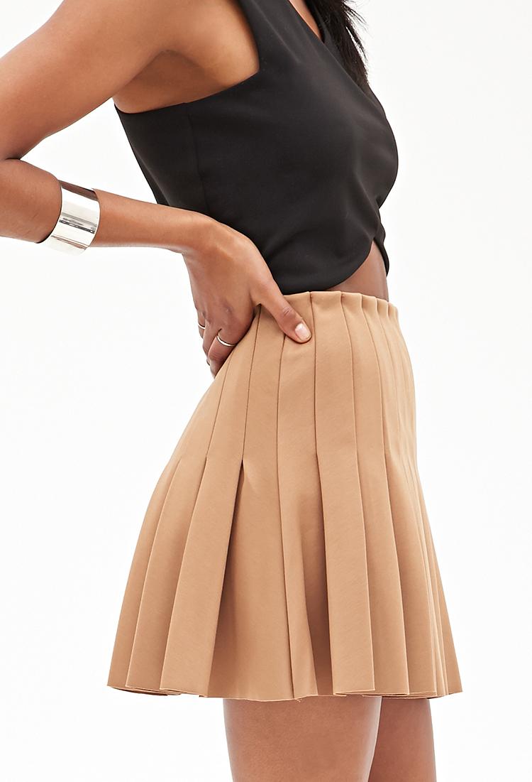 Forever 21 Pleated Skater Skirt In Natural Lyst