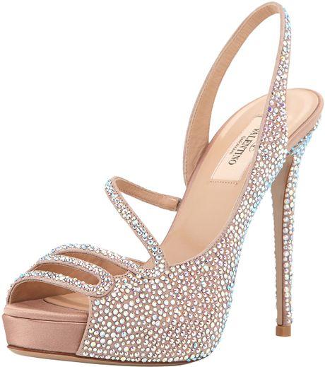 Valentino Strass Platform Slingback Evening Sandal In Pink