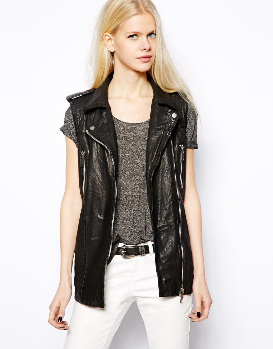 big selection new cheap select for original Mango Black Leather Biker Sleeveless Jacket