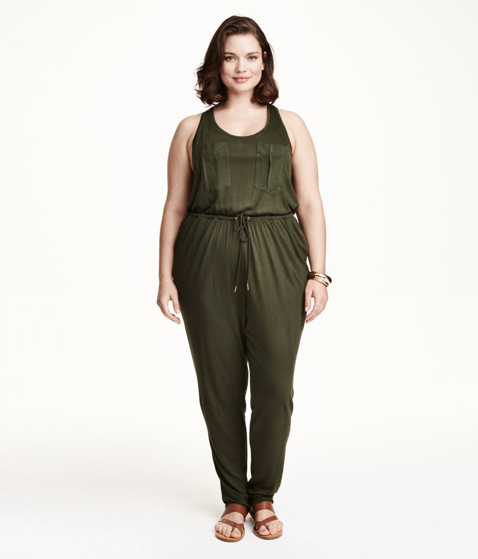 h m jersey jumpsuit in green lyst. Black Bedroom Furniture Sets. Home Design Ideas