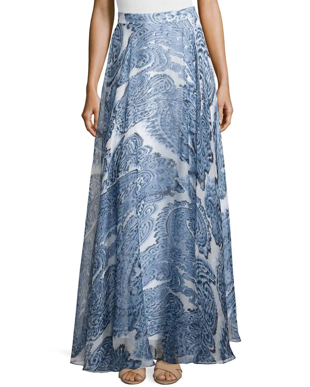 milly printed silk maxi skirt in blue lyst