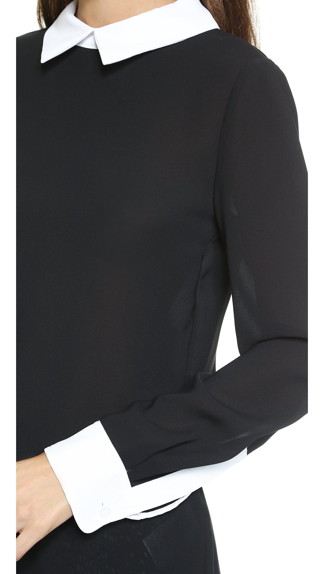 Lyst Dkny Long Sleeve Blouse With Contrast Collar Cuffs