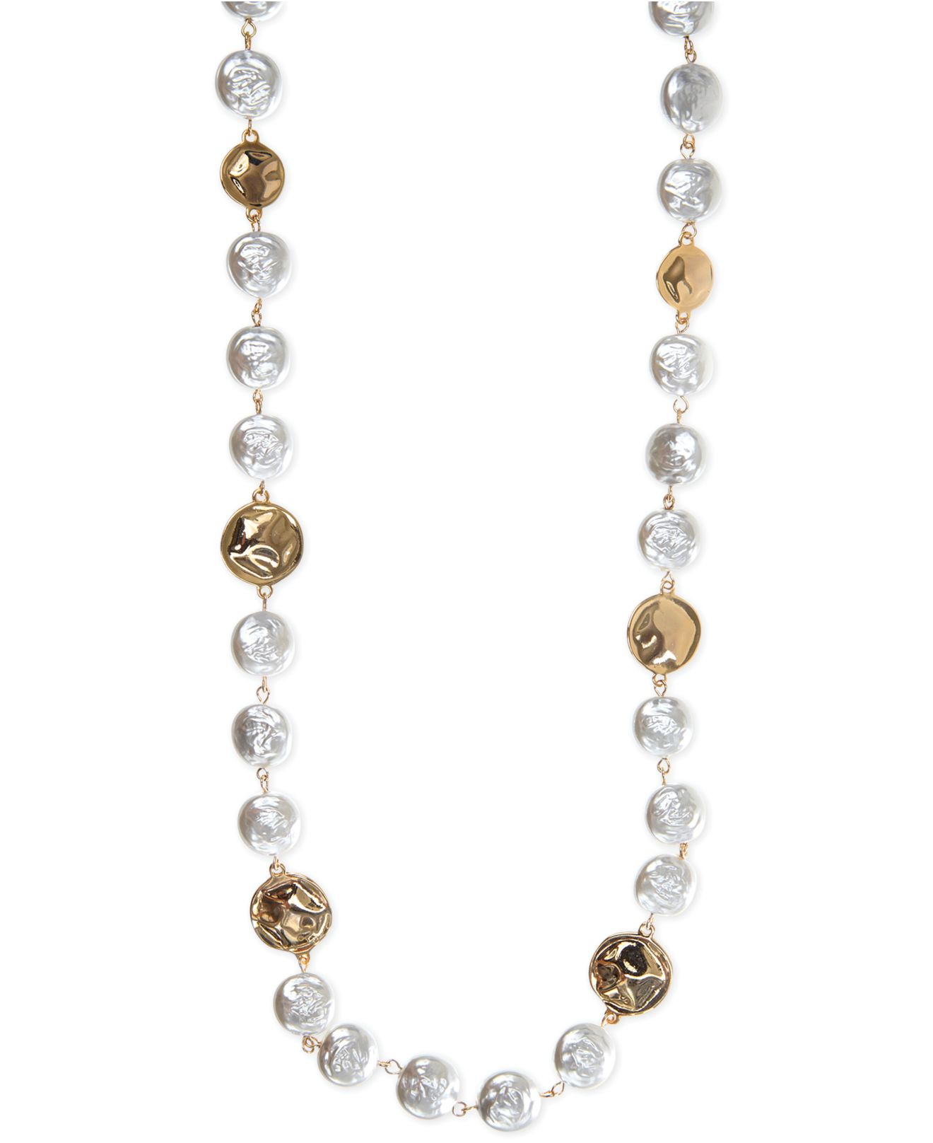 jones new york gold tone white pearl strandage necklace in. Black Bedroom Furniture Sets. Home Design Ideas