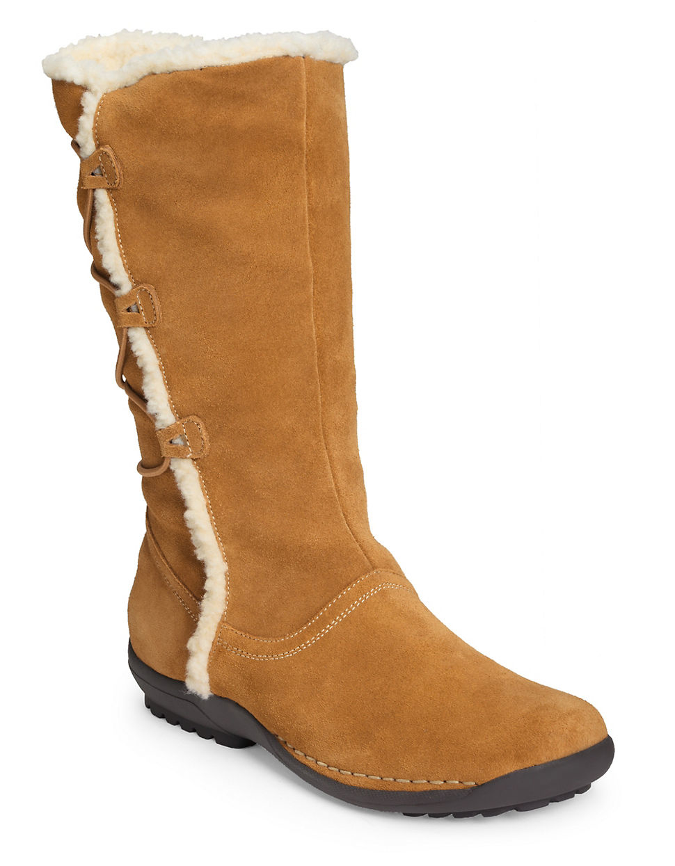 aerosoles high gear faux fur lined boots in brown lyst
