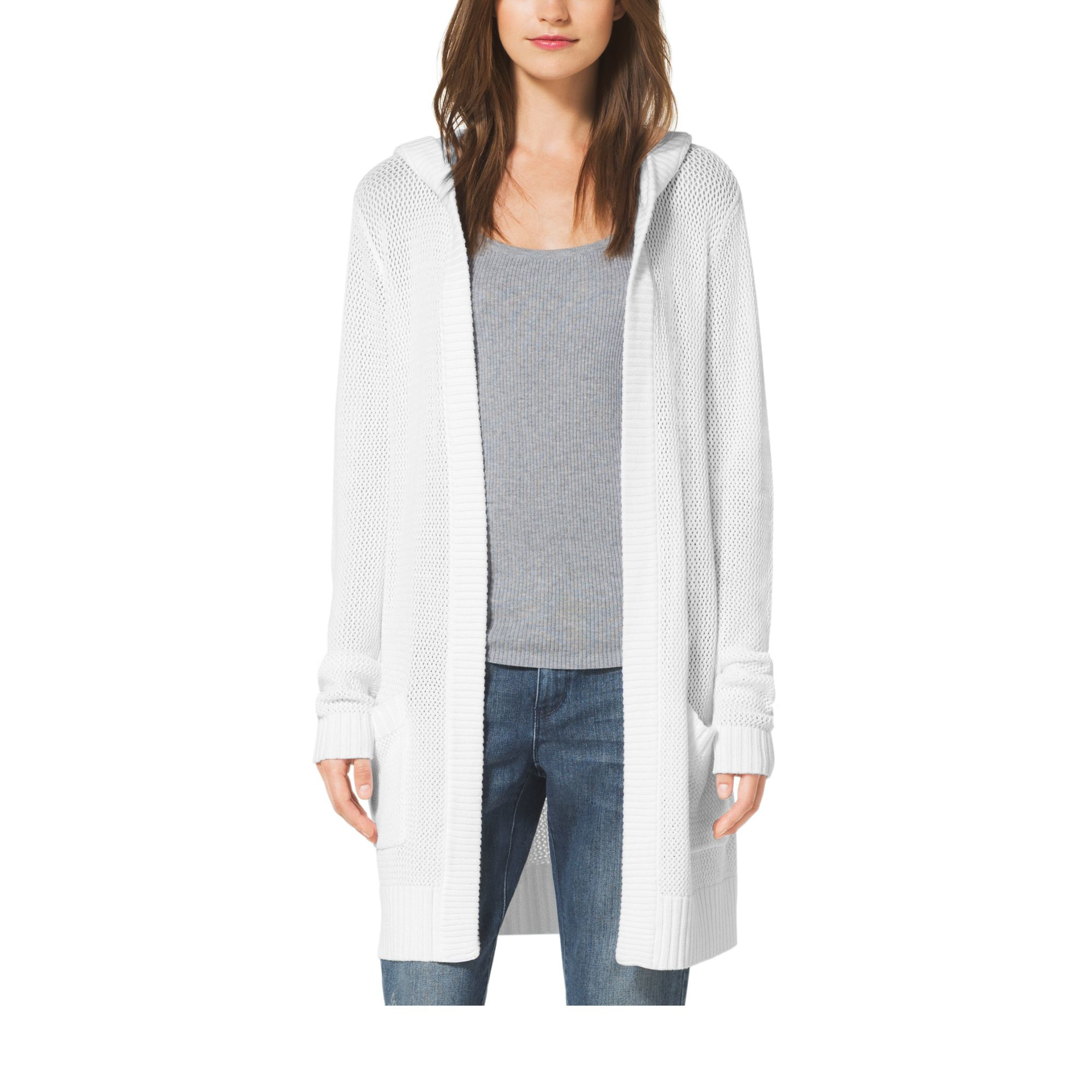 Michael kors Hooded Cotton-blend Cardigan in White | Lyst