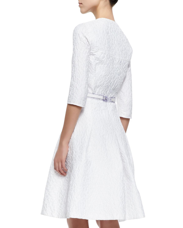 Lyst carolina herrera three quarter sleeve bubble for Carolina herrera white shirt collection