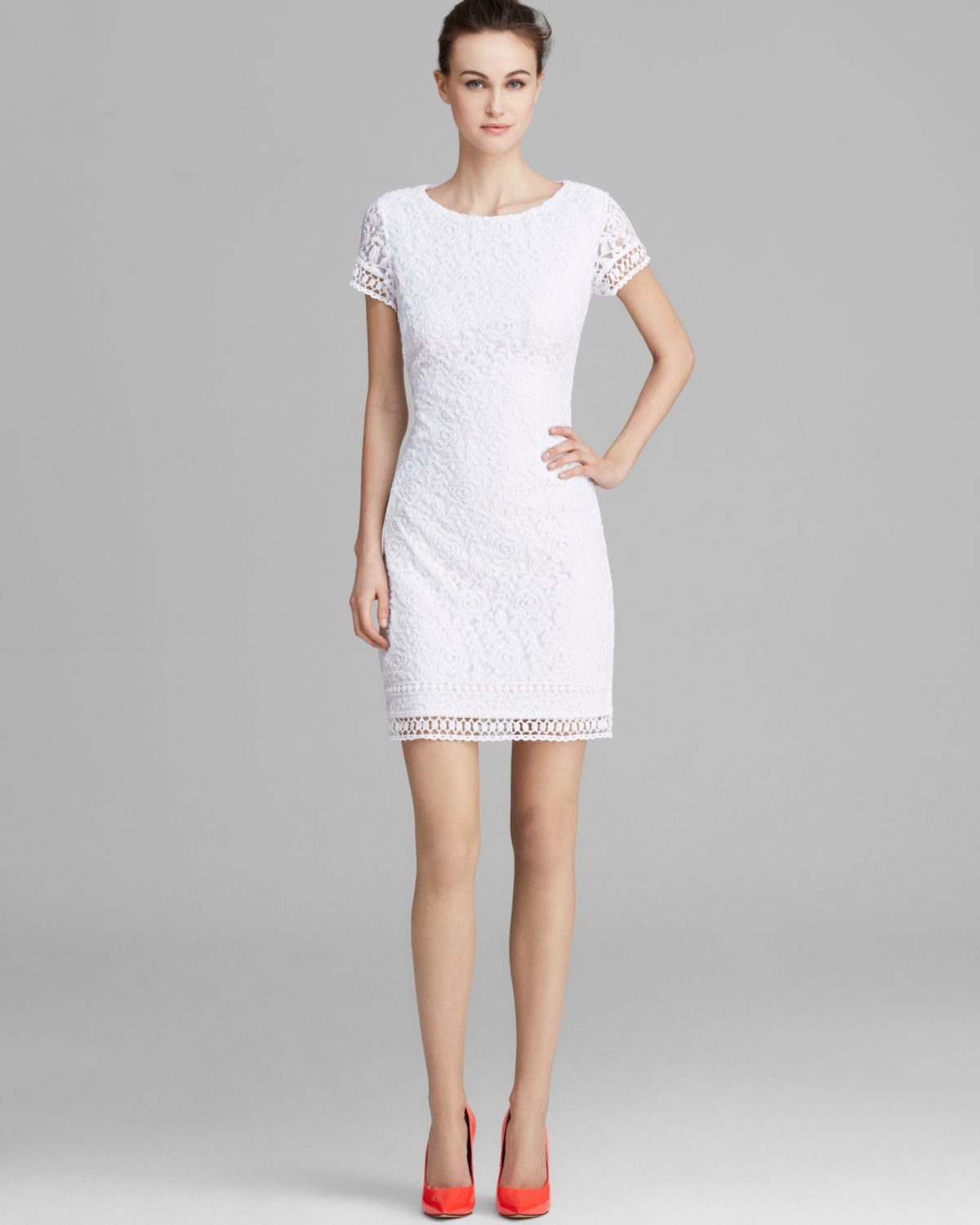 Lyst - Laundry By Shelli Segal Dress Short Sleeve Lace ...