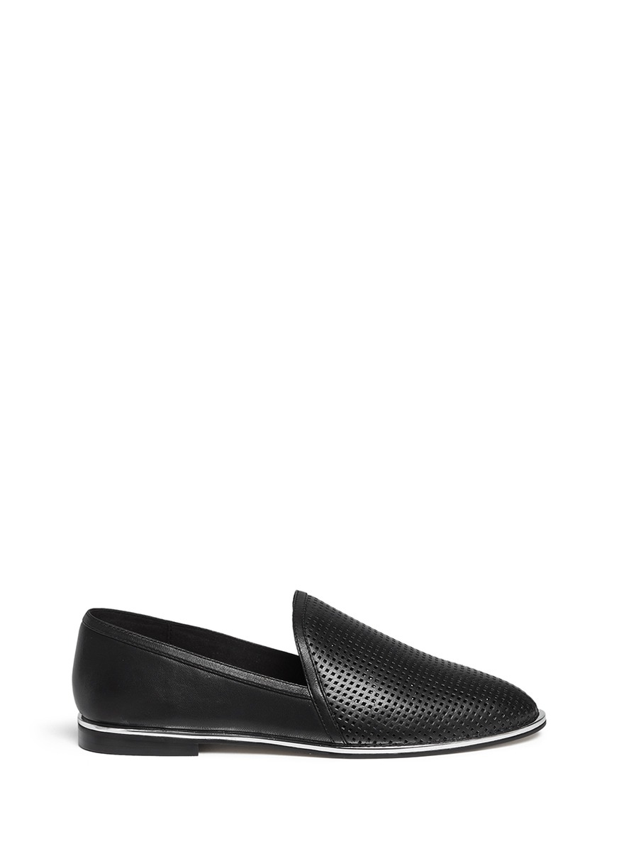 a90f60a30 Pedder Red Leslie Perforated-Leather Loafers in Black - Lyst