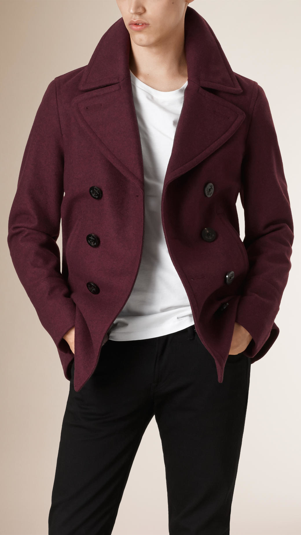 Burberry Wool and Cashmere-Blend Peacoat in Purple for Men | Lyst