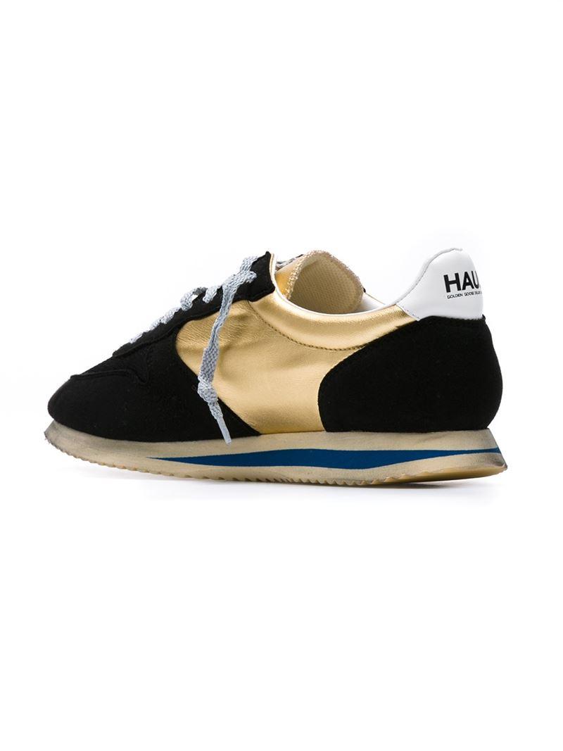 Golden Goose Deluxe Brand Haus Suede and Metallic Leather Low-Top Sneakers in Black