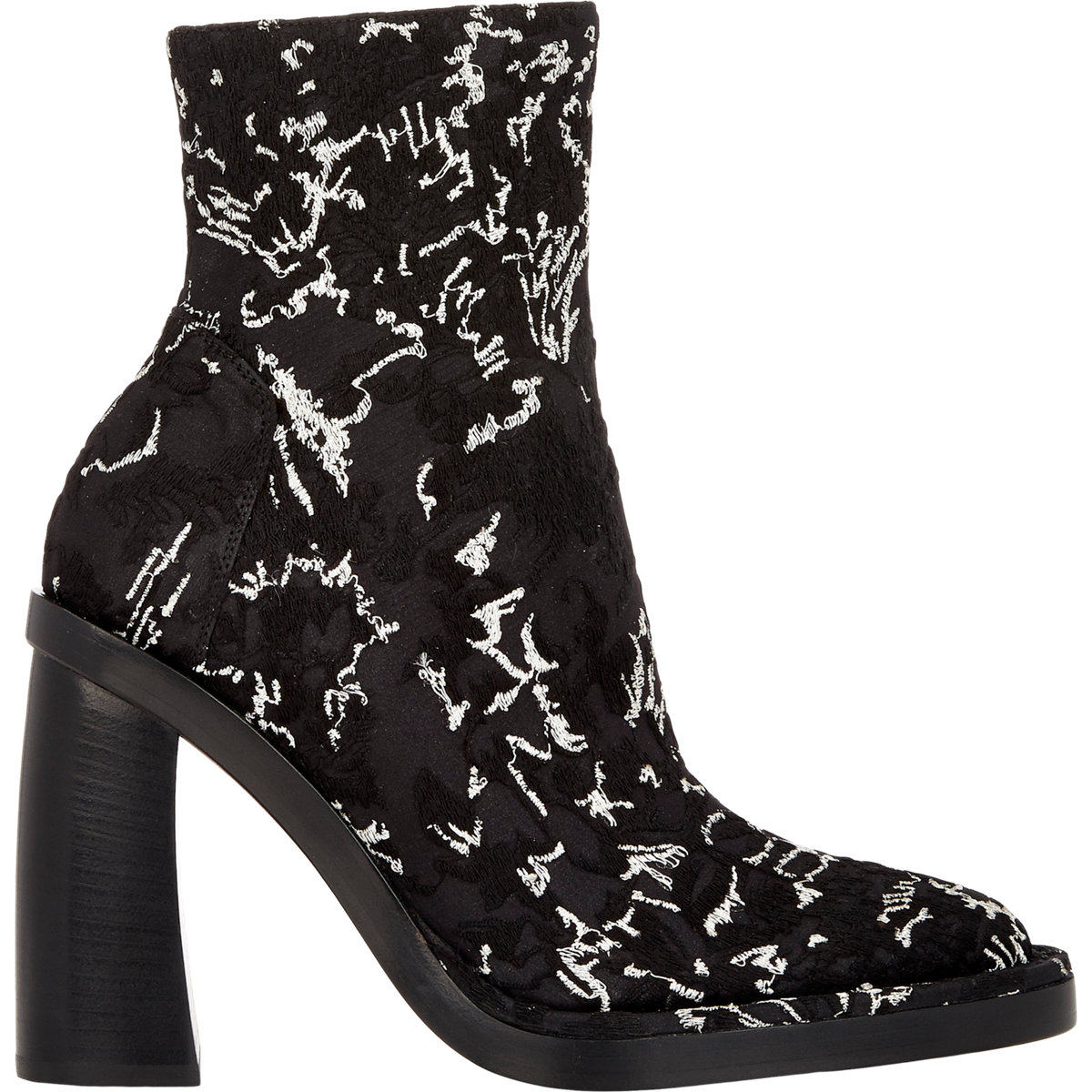 35430e04d4f Lyst - Ann Demeulemeester Curved-heel Jacquard Ankle Boots in Black