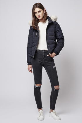 Topshop Petite Quilted Jacket in Blue | Lyst