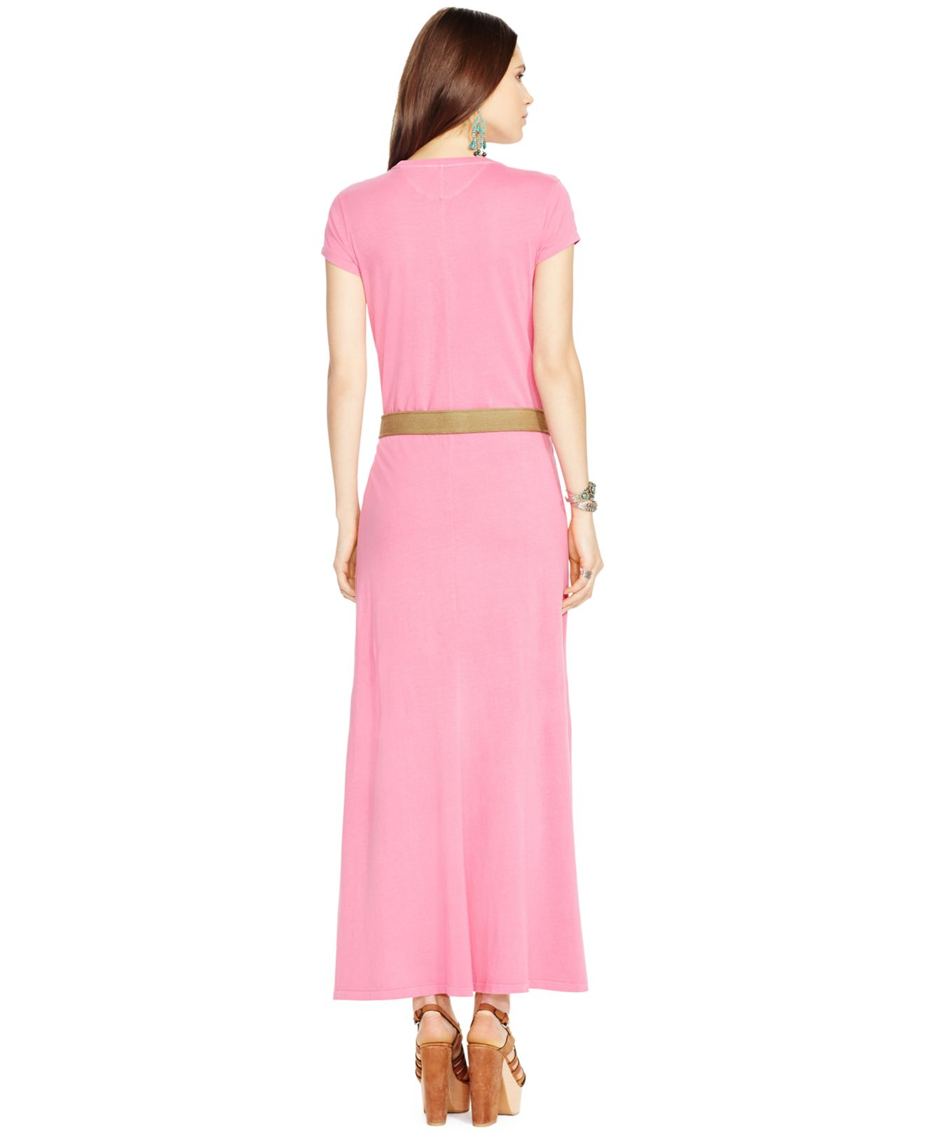 39b68df1d0 Polo Ralph Lauren Cap-Sleeve Maxi Dress in Pink - Lyst
