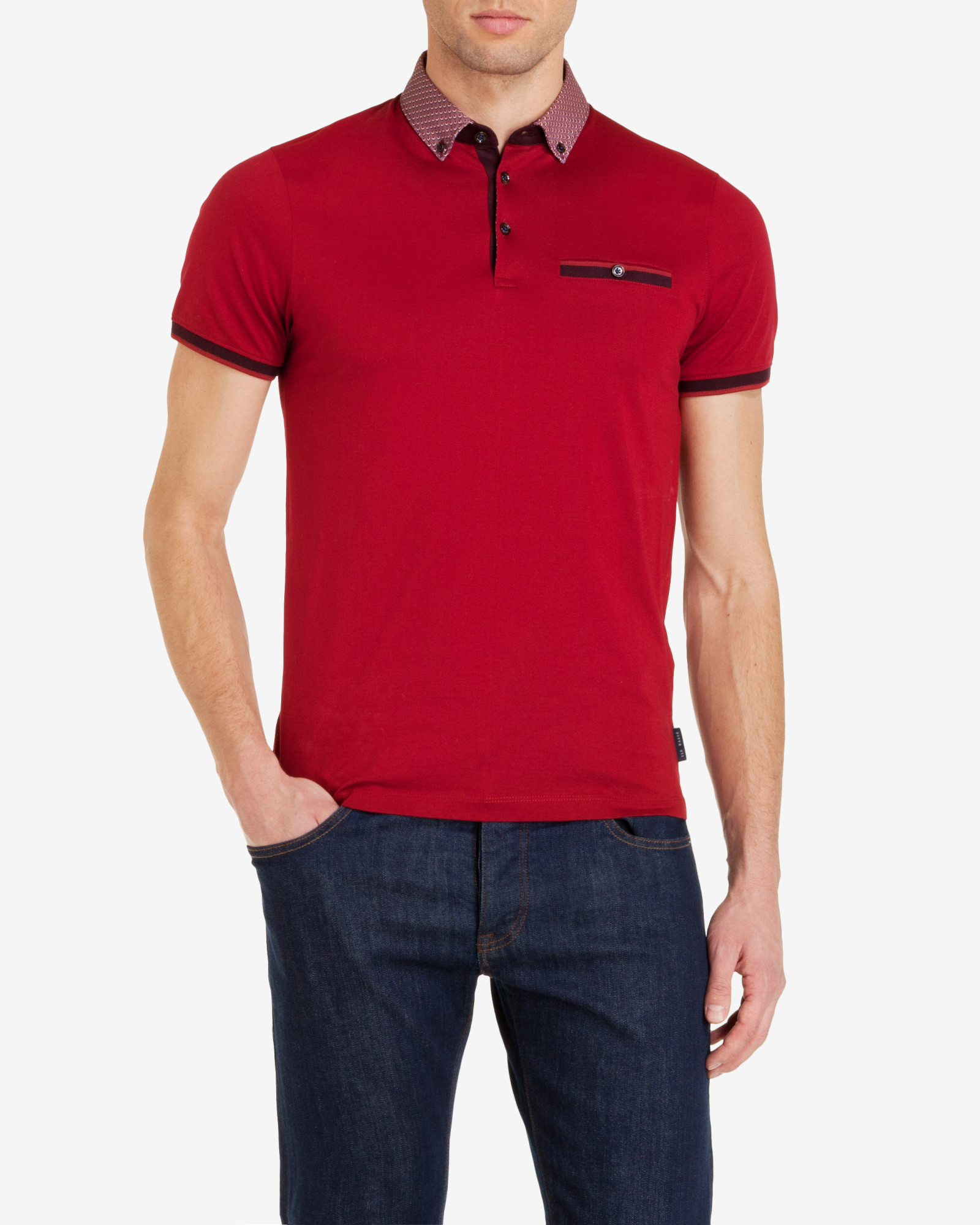 Ted baker printed collar polo shirt in red for men lyst for Ted baker mens polo shirts