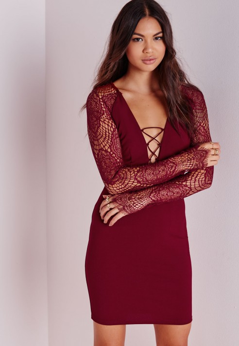 Lace Up Long Sleeve Bodycon Dress Burgundy