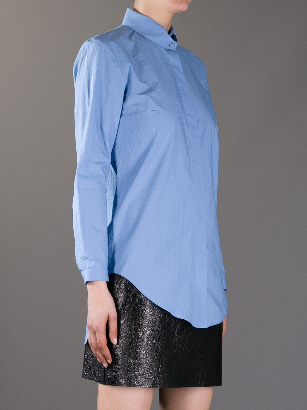 Carven Button Collar Shirt In Blue Lyst