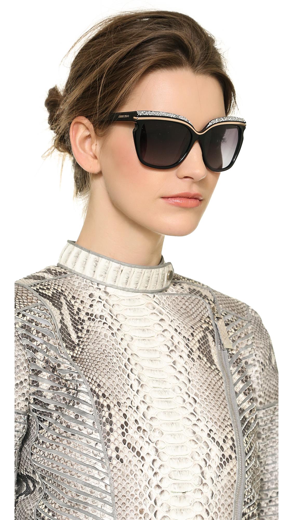 Jimmy Choo Sophia Sunglasses Nudebrown Violet in Black