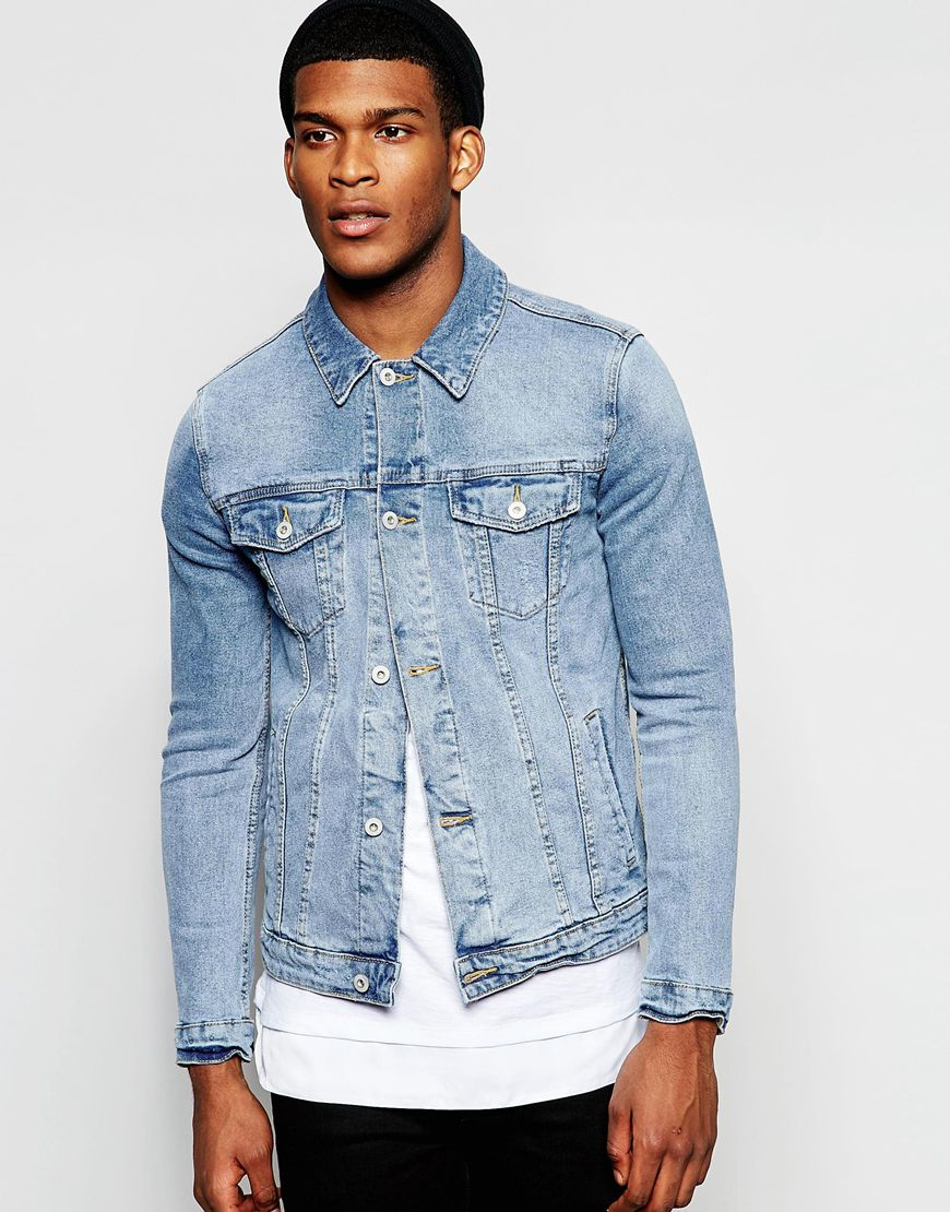 For instance, try wearing a men's light wash denim jacket with some black jeans. The contrast between the colours will create a balance within your outfit and stop it from becoming too uniform. For the best quality, stick with a Levi's, or similar, denim jacket.