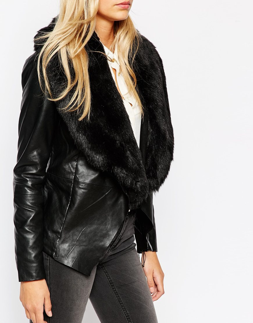 Leather jacket fur collar