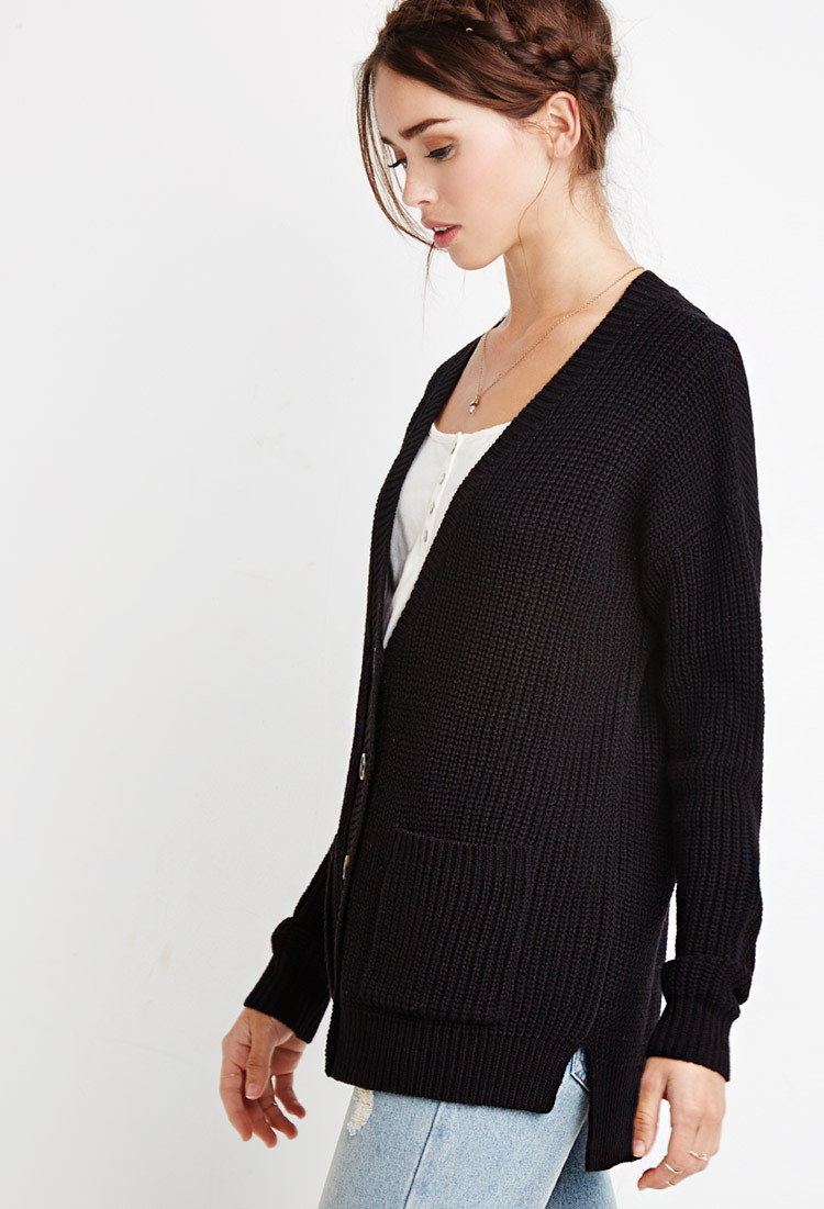 d4f6b86c7a3 Lyst - Forever 21 Classic Knit Cardigan in Black