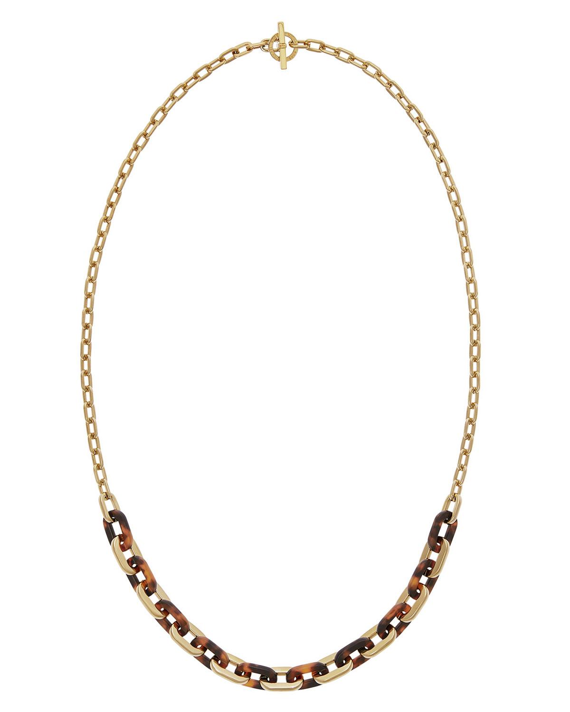 Michael kors tortoiseshell chain link necklace in metallic for Michael b s jewelry